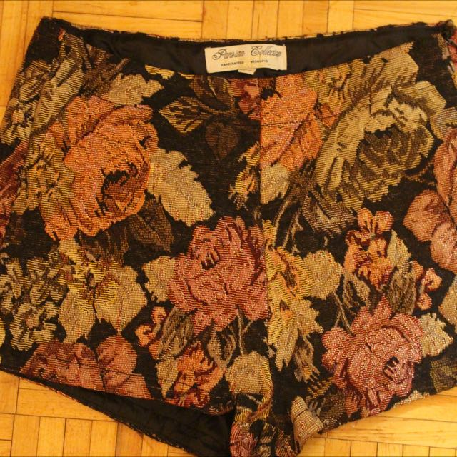 Flowered High Waisted Shorts