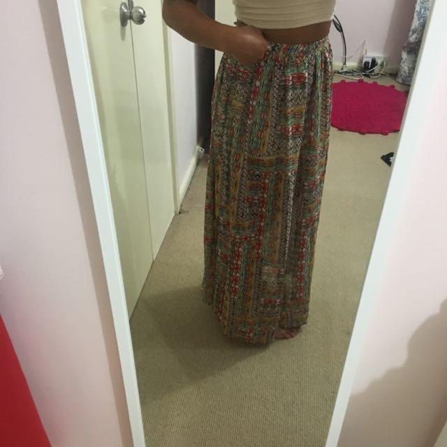 Forever21 Boho Patterned Maxi Skirt