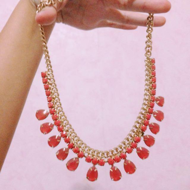 Forever 21 Orange Gemstone Necklace