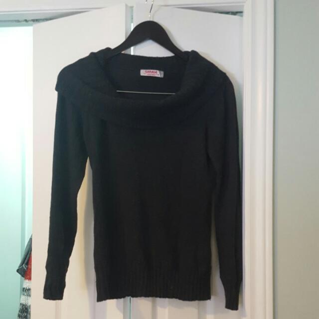 Garage Black Cowl-neck Sweater