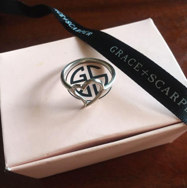Grace & Scarper Silver Heart Ring