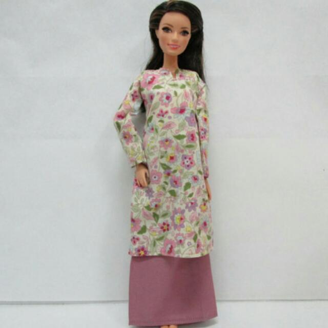 Handmade Barbie Purple Plum   Flower Baju Kurung 3643b0c46a