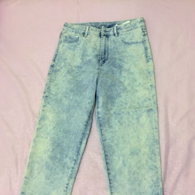 H&m Acid Wash High Waisted Jeans