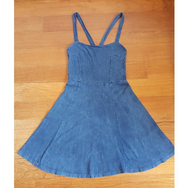 H&M Denim Blue Pinafore Dress