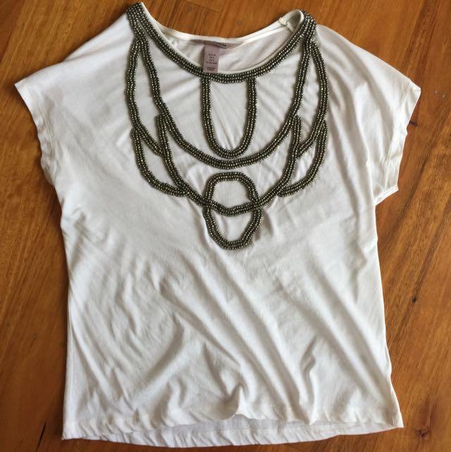 H&M Embellished Shirt size EUR34/US4 Fit Aus 6-10