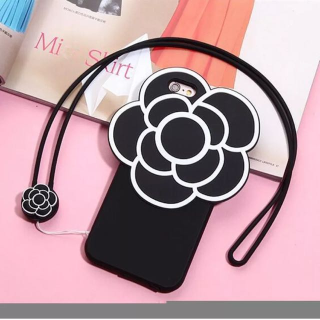 iPhone 6/6s Cover Case Protection Camellia Flower Black