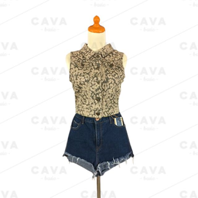 Jeans Crop Top Army Pattern High Quality Atasan Baju Crop Top Vest Outer Jeans Denim