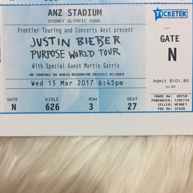 Justin Bieber World Purpose Tour Tickets