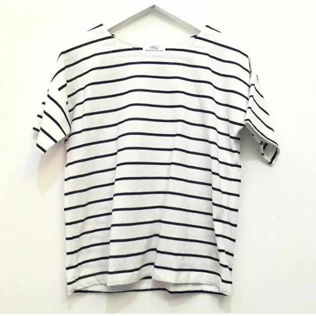 Kaos Strip Navy ( Bangkok Fashion)