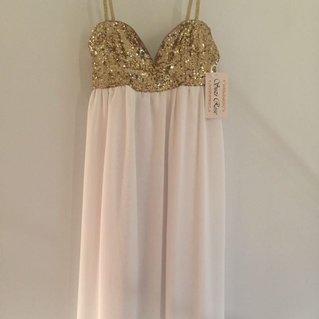 Knee Length Gold & White Dress