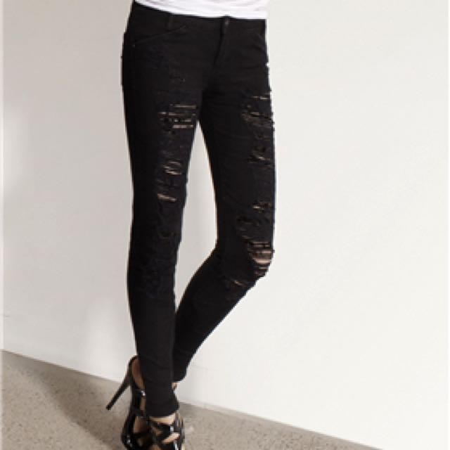 Lee Licks Black Distressed/ripped Jeans