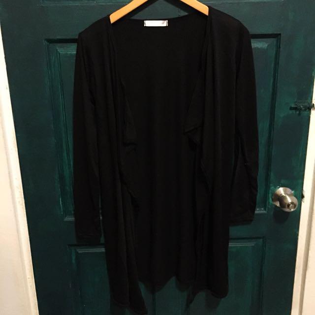 lulus 黑色長版開襟外套 罩衫 含運