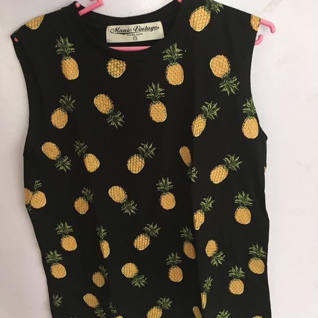 Manic Vintage Sleeveless Pineapple Top