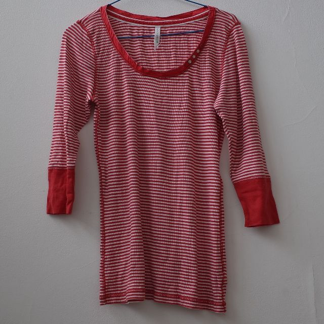 Marks and Spencer Tshirt Coral Stripes Long Sleeves