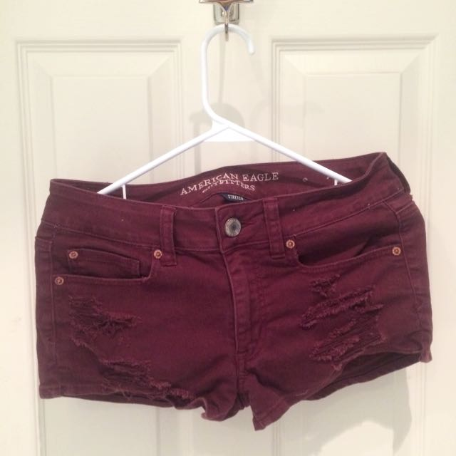 Maroon Shorts (Distressed)- AEO