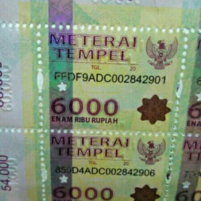 Materai 6000baru 100 Biji Materai