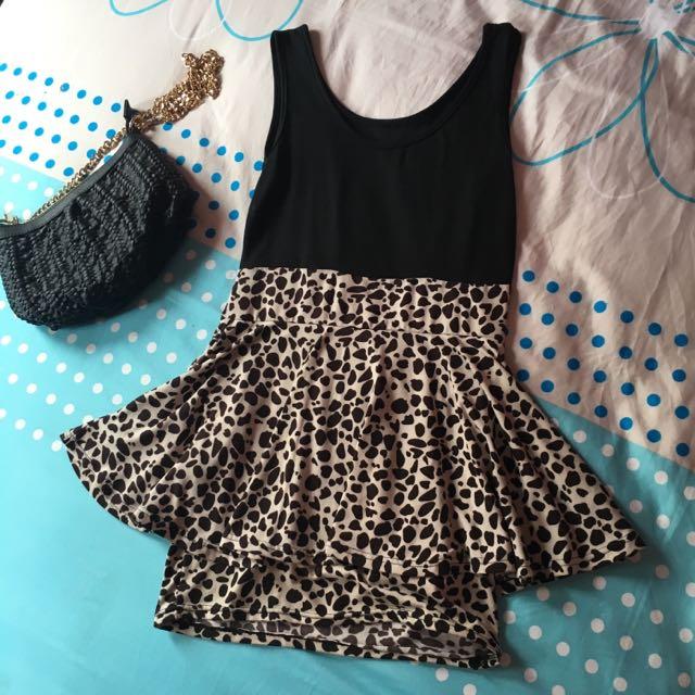 Mini Dress black Leopard