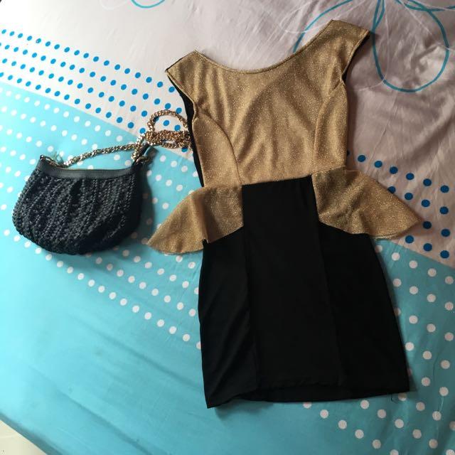 Mini Dress Gold Black