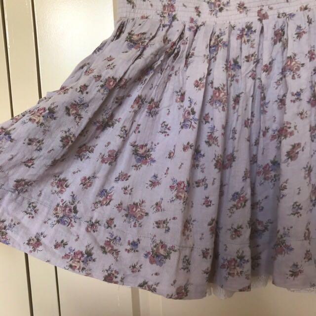 Minkpink Purple Floral Mini Skater Skirt