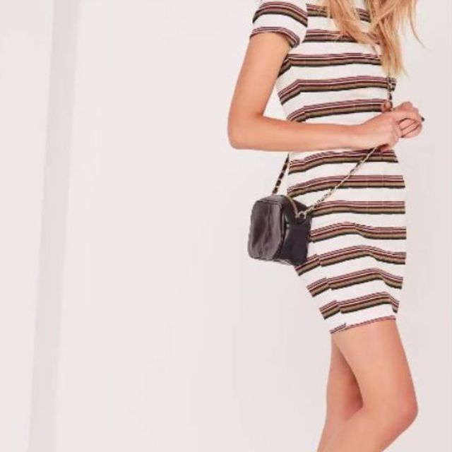 missguided multi stripe bodycon mini dress