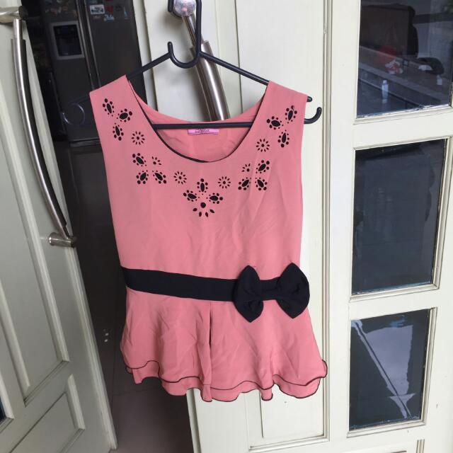 NEW Peplum Sleeveless Ribbon Pink Top