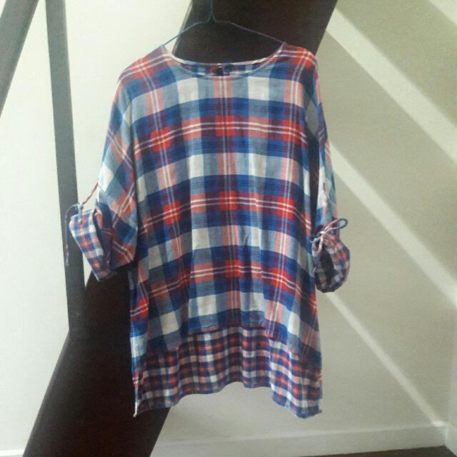 Oversize Checkerd Women Top