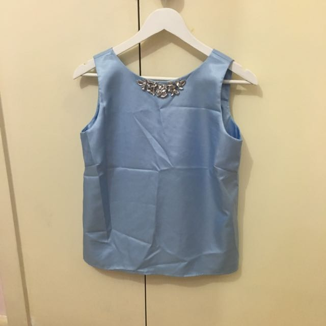 Pastel Blue Blouse With Diamonds And Bow Detail
