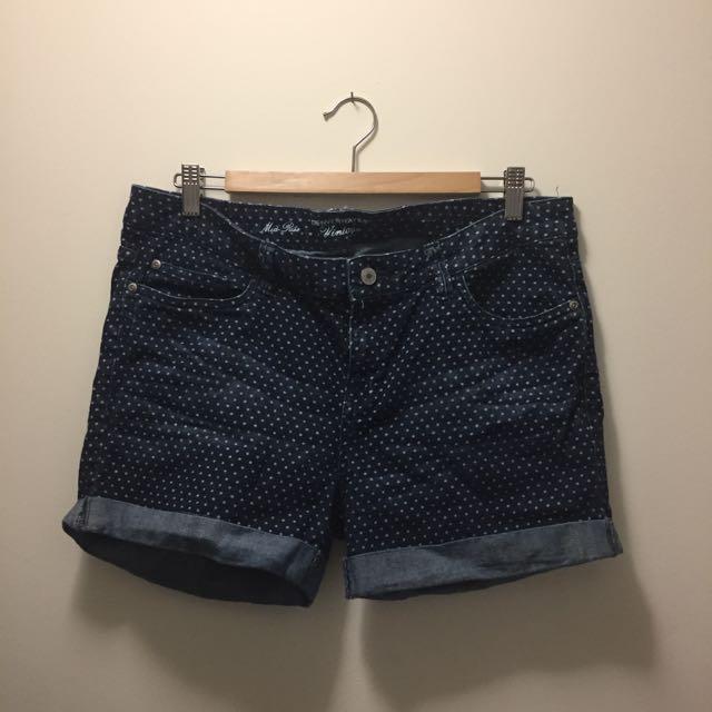 Polka Dot Dark Jean Shorts