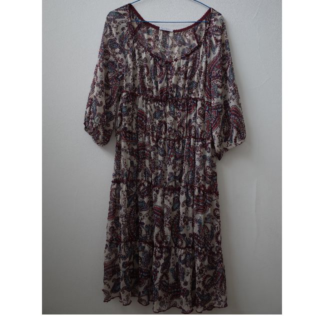 Promod Tunic Dress Paisley Red Blue White Long Sleeve