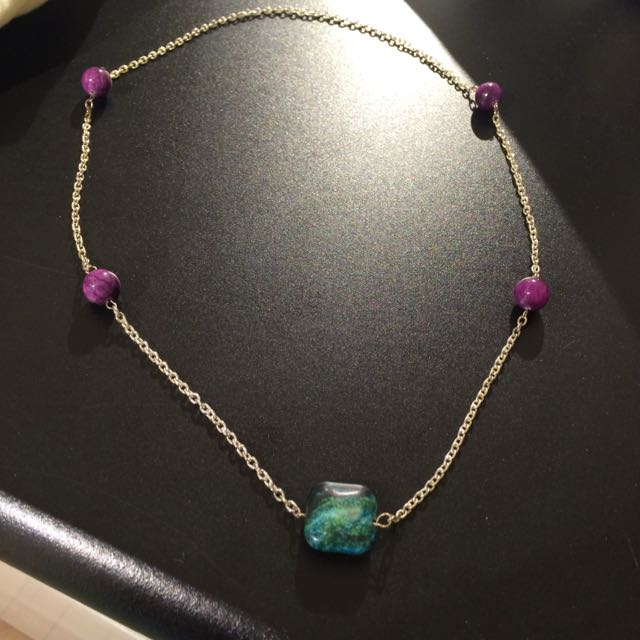 Purple & Green/blue Marble Necklace