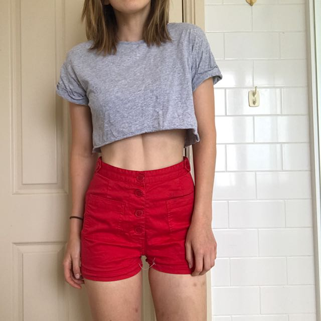 Red High-waisted Shorts