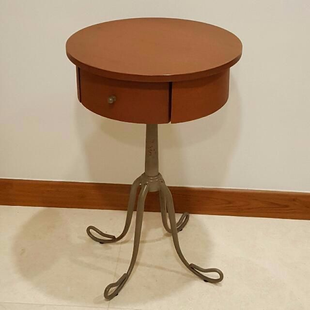 Antique Wooden Round Side Table With
