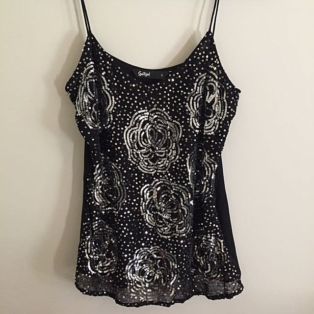 Sequin Black Singlet