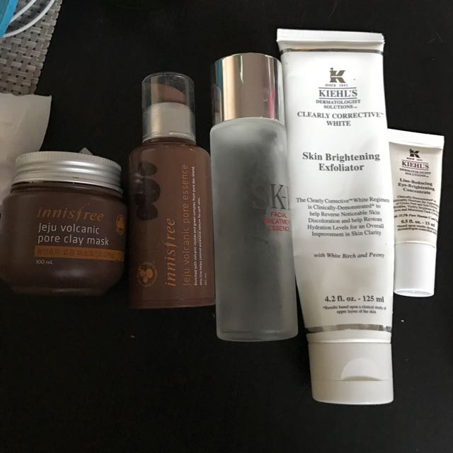 SK II Facial Treatment Essence, Kiehls Line Reducing Eye Brightening Concentrate, Innisfree Jeju Vol