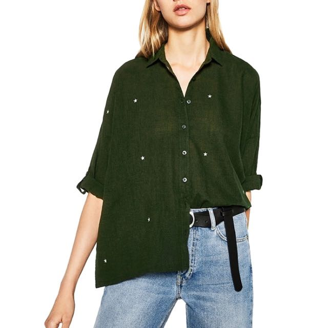 Star Embroidered Green Shirt