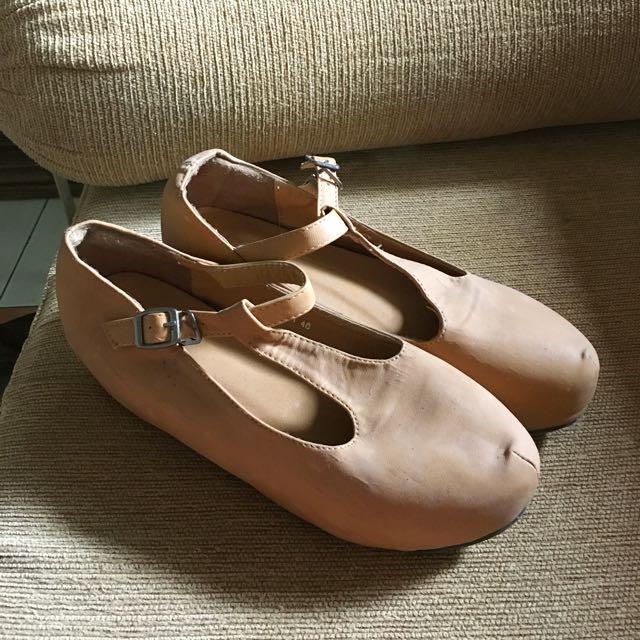 T Bar Khaki Platform Flat Shoe