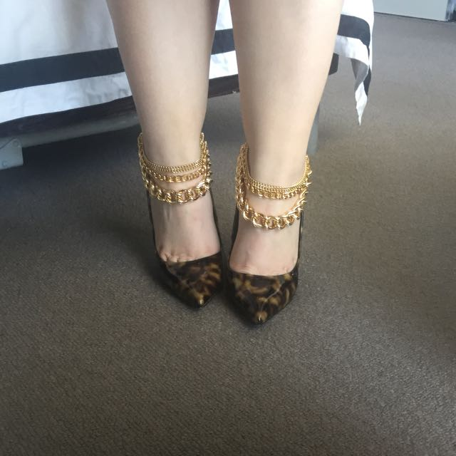 Triple Layered Gold Chain Anklets