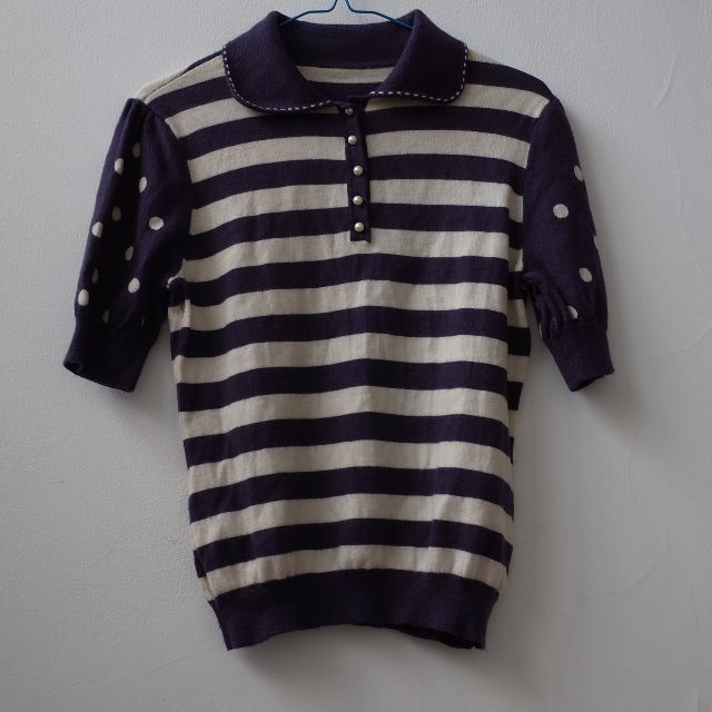 Unique Knit Polo Top Purple Short Sleeve