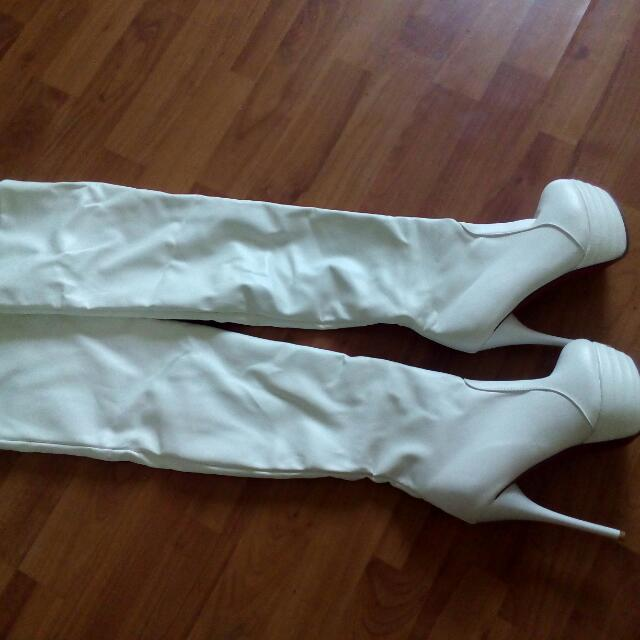 White Heeled Knee Boots