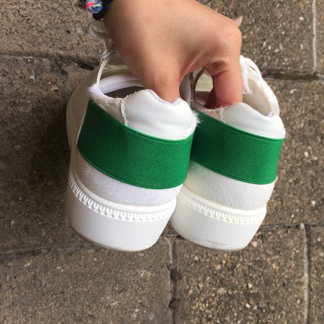 White Platform Sneakers Faux Fur Green Stripe