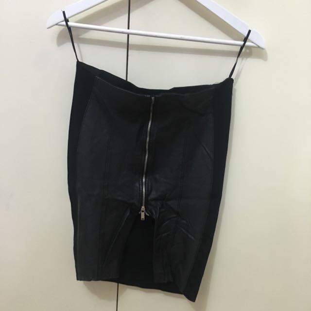 Zara Black Leather Zip Mini Skirt