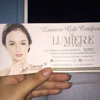Lumiere Skin And Spa Gift Check