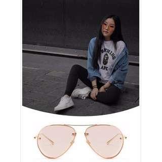 Artistry Crafted Inside Metal Rim Aviator Sunglasses-Transparent Pink