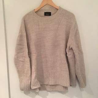 Zara Beige Knit Oversized Sweater