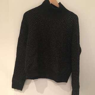 Black Oversized Turtle Neck Sweater