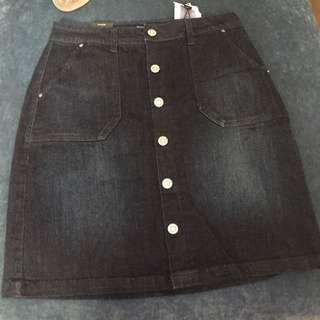 Brand New denim button-up skirt