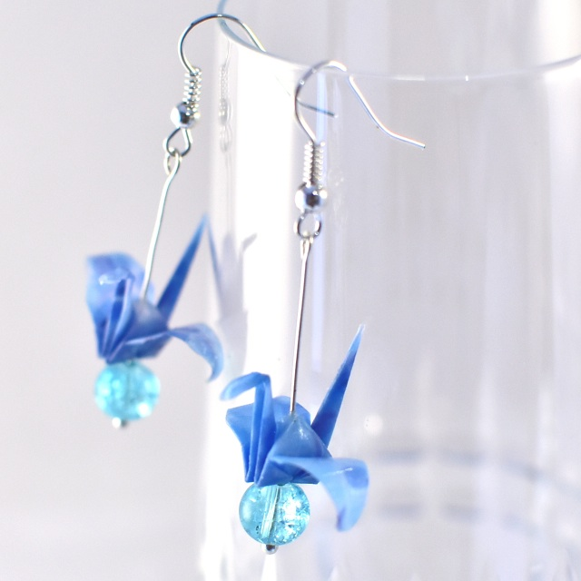 04 Beautiful Origami Paper Crane Earrings (curve type)