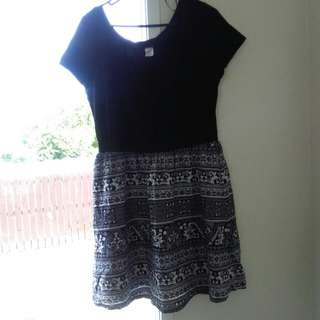 Black top with patterned skirt dress - size 18 - $10