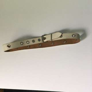 Slim White Leather Belt