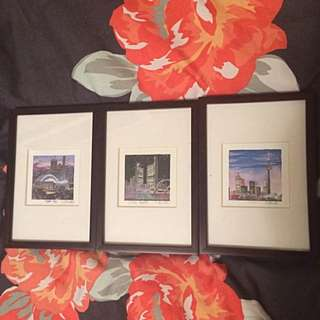 Set Of Three Miniature Paintings Of Toronto Landmarks